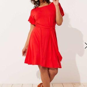 Loft!  Solid Drop Shoulder Tie Waist Dress! 24!